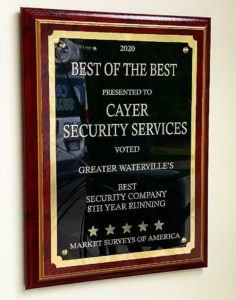 Named 2020 Best Security Company in the Waterville, Maine Area for 8th consecutive year